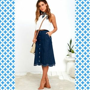 J.O.A. Denim Embroidered Skirt